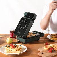 Sanduíche elétrico fabricante cronometrado waffle fabricante torradeira de cozimento multicooker máquina de café da manhã sandwichera bolo de cozimento 600w1