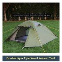 الخيام والملاجئ التخييم الشتاء خيمة طبقة مزدوجة 210Doxford القماش للماء 4Season 2 شخص الألومنيوم القطب المشي لمسافات طويلة الصمود