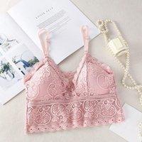 Camisoles serbatoi Bralette wireless Bralette imbottita Bralette profondo V pizzo reggiseni estivi cround Top ricamo ricamo serbatoio floreale corsetto colore rosa