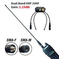 Walkie Talkie 2PCS Original Baofeng Antena Dual Band SMA-F SMA-M VHF UHF 144-430MHz para UV-5R UV-82 BF-888S Na-771