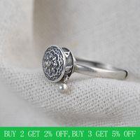 BALMORA 100% Real 925 Sterling Silver Buddhist Rings For Women Lady Rotating Ring Tibetan Prayer Mantra Ring Good Luck Ring Gift 201118