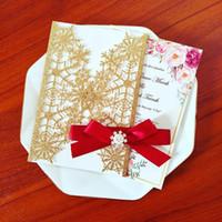 Rhinestone Snowflake Gold Glitter Personalizado Imprimir Tarjetas de invitación de boda con arco DIY CHAMPÁN CUT CUT CUT CUT CUT FIRS DE DUCHA DE DUCHA INVITAS