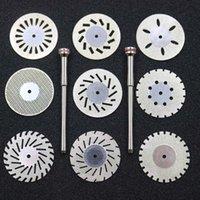 9pcs Dental Lab 0.20mm doppelseitige Diamantschneidscheibe zum Trennung von Polierkeramik-Kronengips oder Jade mit 2 Dornen