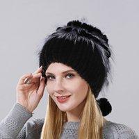 판매 꽃 믹스 토끼의 고로 폭스 피부 구식 겨울 뜨개질 여성 모자 모자 비전 진짜 수직 기술