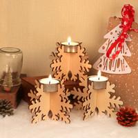 Bougeoir de Noël en bois Set 12pcs / Set Chandelier Bâtiment Bâtiment Holiday Partie de vacances en bois DIY Bougeoir Decor Grossiste