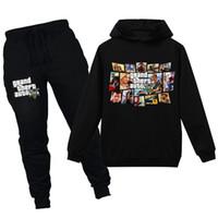 v GTA 5 세트 후드와 바지 2pcs 세트 유아 소년 의류 키즈 트랙 슈트 스포츠 복장 티셔츠 Q1203
