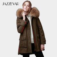 Jazzevar Kadınlar Kış Ceket Ordusu Yeşil Ayrılabilir Büyük Gerçek Rakun Renk Kürk Yaka Kadın Parkas Kapüşonlu Ceket 2in1 Dış Giyim 201027