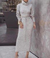 Midi Elbise Sonbahar Seksi Yüksek Boyun Katı Renk Örgü Elbiseler Moda Casual Kadın Giyim Bayan Tasarımcısı