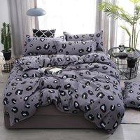 Leopardo stampa 4pcs ragazza ragazzo capretto copriletto set piumino copripiumino adulto bambino lenzuola fogli pillowcases consolatore set di biancheria da letto 610331