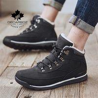 Decarsdz Kar Moda Sıcak Peluş Sneakers Ayakkabı Adam Dayanıklı Eski Deri Yeni Kış Çizmeler Erkekler 201126
