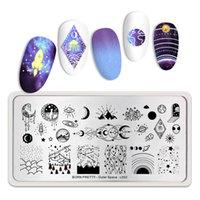 Wholesale pregos carimbando placas exterior espacial star lua sol misturado padrões de aço inoxidável nail art stencil design ferramentas
