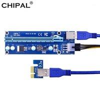 Chipal 60cm Ver006C PCIE 1X till 16X förlängningskabel PCIE Riser-kort + USB 3.0 Kabel / 6pin Strömförsörjning för BTC LTC Miner1