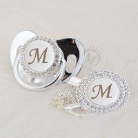 Miyocar اسم الفضة بلينغ الحرف الأولي مي جميل بلينغ مصاصة وجهاز مصاصة كليب bpa الحرة دمية بلينغ babyshower هدية LM-1 LJ201110