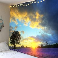 Arazzi 3D Sunset Sunset Lavanda Poliestere Parete Tapestry Appeso Appeso Copriletto Beach Asciugamano Sfondo Casa Camera Arte Dropship1