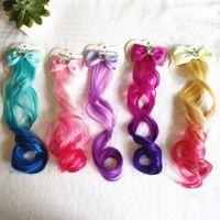 1 Pcs Child Bow Hair Clip Long Gradient Curls Hairpin Ribbon for Girls Kids Sweet Fashion Cute Headband Hair Styling Tool