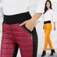 Neue Winter warme Hosen dicke Baumwolldamen 2019 Art und Weise eng hohe Taille Stretch-Hosen Damen beiläufige bequeme Snowpants Frauen A1113