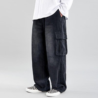 Mens Corduroy Trousers Old School Multi- pocket Cargo Pants M...