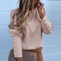 2021 퍼프 숄더 블라우스 셔츠 사무실 레이디 가을 금속 Buttoned Detail Blouses 여성 파인애플 인쇄 긴 소매