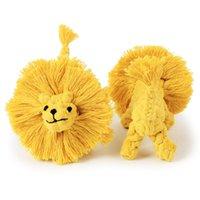 Accessoire de chien Coton Coton Tissage Manuel Lion Forme de lion 15.5cm Chien Pet Multi-Strand Nœud Résistant Molaire Jouet Jouets Jouets VTKY2360