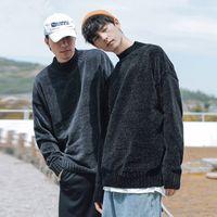 Boy 2020 Fall Winter New Mid Turtleneck Sweater Men's Loose Knit Top High Quality Jumper Blue Black
