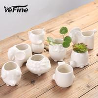 Yefine Creative Create Certic Planter Planter Bonsai Садовые горшки для садовых горшок Jardin Bonsai столик сочный цветочный горшок милые животные горшки Y200723