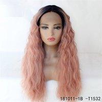 Ombre Cor Sintética Remy Cabelo Lace Front Wig HD Laço Transparente Simulação Frontal Perucas de Cabelo Humano 181011-1B-T1532