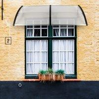 200 x 100 Capa de Chuva Eaves Porta de aplicação doméstica Outdoor Policarbonato da porta da porta da porta da frente da janela do toldo Pátio cobertura de dossel UV protegido