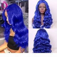 Oley cheveux longs perruque bleue haute densité de la densité middle vague de dentelle synthétique dentelle de dentelle avant perruque de cosplay sans gloie pour femmes noires
