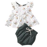 Bebê meninas desenhos animados conjuntos sem mangas veste plissado tops infantil roupas impressas calças sólidas toddler bebê bebê shorts crianças casual roupas set 061205
