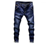 Jeans pour hommes Laamei Mode maigre Hommes Droit Bleu sombre 2021 Imprimé Décontracté Viker Denim Jean Stretch Pantalon Pantalon