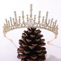Forseven Dorado hecho a mano / Color plateado Brillo Crystal Tiaras Crowns DeeDebands Bride Noiva Fiesta de boda Joyería de pelo Accesorios1