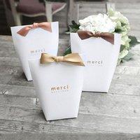 """هدية التفاف 10 قطع euniqueen أسود / أبيض """"Merci"""" الحلوى حقيبة الفرنسية شكرا لك الزفاف تفضل مربع حزمة عيد ميلاد الحزب صالح أكياس"""