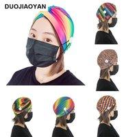 Moda 2020 mulheres chapéu de senhora outono e inverno Mulheres Lenço na Índia Hat com botão Leopard Mask Holer arco-íris Cara Gorros Cap