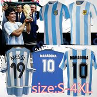 Boyut S-4XL En İyi Kalite 1978 1986 Arjantin Maradona Futbol Forması Retro Sürüm 86 78 Maradona Caniggia Kalite Futbol Gömlek Batistuta