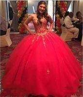 Vermelho com ouro applique vestido de baile quinceanera vestidos barato 2020 querida beading tule chão comprimento baile formal noite vestido barato