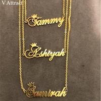 Weihnachtsgeschenk benutzerdefinierte Krone Name Halskette personalisierte Schmuck Silber Rose Gold Edelstahl Kette Namensschild Choker Halsketten1