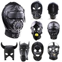 PU Leather Fetish Hood Headgear Sex Toys for Women BDSM Bondage Sex Mask bdsm Toys Adult Games Sex Product For Adults Y201118