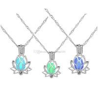 Модный серебряный цвет лотос цветок светящиеся свечения в темном полумесяце кулон ожерелье для женщин жемчужные клетки подарок ювелирных изделий GVOF1