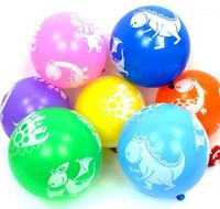 Dinosaurio impreso globo de látex 12 pulgadas Globos de colores favores Favores de la fiesta de bienvenida al bebé Decoraciones de la fiesta de cumpleaños Suministros de la fiesta para niños Regalos de juguetes para niños1
