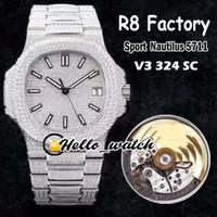 R8F V3 Atualização Versão 5711 Cal.324 S C Automático Mens Relógio Gypsophila Dial Dial Aço Full Diamond Bracelet relógios de esporte Olá_Watch