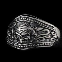 Кластерные кольца Bocai Real S925 Серебряное Пиратское Кольцо Человека Для Человеческого Улица Хипстер Индивидуальный сингл относится к оригинальной букве