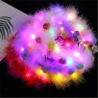 LED 깃털 헤어 밴드 빛 영원한 화환 빛 최대 머리 화환 크리스마스 빛나는 화환 파티 꽃 머리띠 장식 GGA384 61 J2
