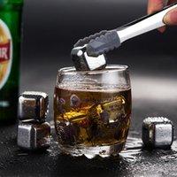 4 teile / satz Gold Cube Eis Gefrorene Form Set Edelstahl Metall Modell Zangen Kaffeetresskaffee Whisky Bar Eis Wein Stein Creative Supplies FFE3418