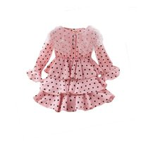 Girl' s Dress, Round Neck Long Sleeve Ruffle Dress One- p...