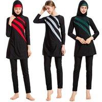 Burkini nuove maniche lunghe costumi da bagno musulmani donne patchwork colour hijab maillot de bain femme costume da bagno donna islamica