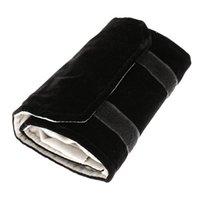 Malas de jóias, sacos de jóias rolo, feito de flanela, para anel, armazenamento ao viajar - preto, cinza, pequeno
