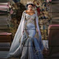 Vestidos de casamento do Oriente Médio Vestidos de Sereia Cristais Frisados Festa Nupcial Vestido com Shawl Manga Longa Vestidos Islâmicos Muçulmanos
