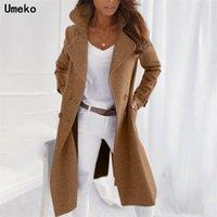 Umeko Sıcak Kış kadın İmitasyon Yün Ceket Uzun Rahat Yün Ceket Renkli Gevşek Rahat Rahat Kruvaze Ceket 201221