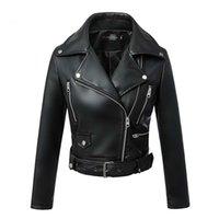MANLEY ARTY FEMMES Automne Hiver Black Faux Cuir Vestes Zipper Basic Basic Collier Collier Moteur Veste motrice avec ceinture 2020 LJ201127
