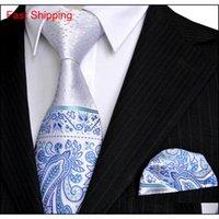 E5 Paisley Çiçek Noktaları Beyaz Gümüş Donanma Mavi Azure Erkek Kravat Seti Kravatlar Cep Kare 100% Qylrmq HOMES2007